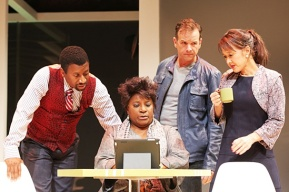 Teagle F Bougere as Chris, LaTonya Richardson Jackson as Jan , Donald Sage Mackay as Tim and Michi Barall as Deb in Signature Theatre's world premiere of Regina Taylor's stop. reset. Photo by Joan Marcus
