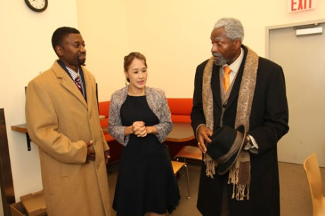 Teagle F. Bougere, Michi Barall and Carl Lumbly backstage at The Romulus Linney for Regina Taylor's stop. reset. on September 21, 2013. Photo by Lia Chang