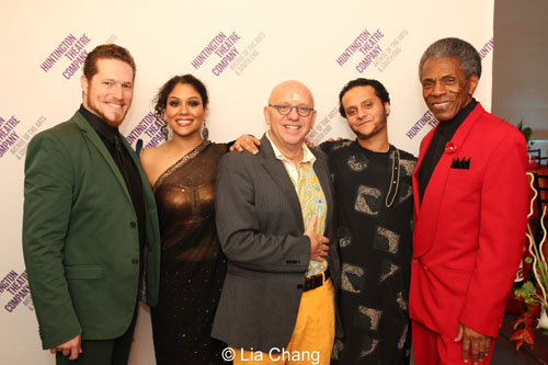 Victor Wisehart (Wolf & Others), Alka Nayyar (Doe, Insect, and Monkey), Thomas Derrah (Kaa), musician Shivalik Ghoshal (Tablas, Dholak) and André De Shields (Akela and King Louie). Photo by Lia Chang