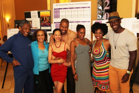 André De Shields, Marie Thomas, Lia Chang, Morocco Omari, Erin Cherry, Gillian Glasco and Sean Phillips. Photo by Drew Shade