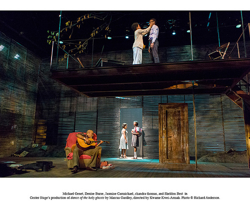 Michael Genet, Denise Burse, Jasmine Carmichael, chandra thomas and Sheldon Best  in Center Stage's production of dance of the holy ghosts by Marcus Gardley, directed by Kwame Kwei-Armah. © Richard Anderson