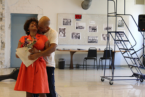 Inside the rehearsal room: Denise Burse and Michael Genet in Center Stage's production of dance of the holy ghosts by Marcus Gardley, directed by Kwame Kwei-Armah. (© Callan Silver)