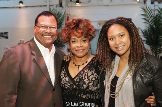 Denise Burse is flanked by Donald Thoms and his daughter Tracie Thoms. Photo by Lia Chang