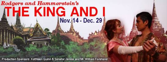 Eileen Ward and Paolo Montalban in The King and I. Photo by Sonie Mathew. Background design by Jim Fouchard