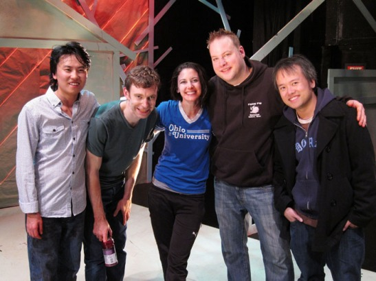 Eugene Young, Robert Ross Parker, Emily Williams, Tom Myers and Qui Nguyen on the set of Alice in Slasherland at Incubator Arts Project in New York on October 29, 2013. Photo by Lia Chang