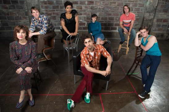 The cast of Studio's 'Torch Song Trilogy.' From left are Gordana Rashovich, Todd Lawson, Ashleigh King, Brandon Uranowitz, Sarah Grace Wilson, Michael Lee Brown and Alex Mills. (Photo by Igor Dmitry; courtesy Studio)
