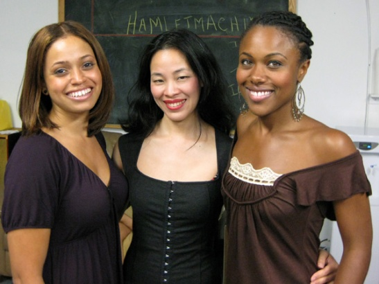 Castmembers Teresa Lasley, Lia Chang and Dewanda Wise backstage at Castillo Theatre in New York for Woodie King's New Federal Theatre's presentation of  Nobel Laureate Derek Walcott's Marie Laveau, with music by Hair composer Galt MacDermot and musical arrangement by Chapman Roberts, as the final play in the Gurfein Foundation/Ntozake Shange Play Reading Series on June, 28, 2009.
