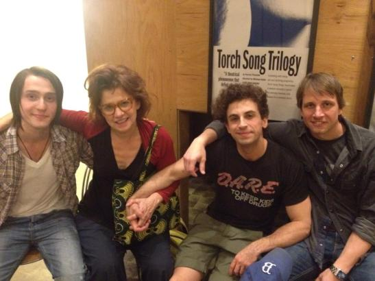 Torch Song Trilogy castmembers Michael Lee Brown, Gordana Rashovich, Brandon Uranowitz and Todd Lawson in the lobby of The Studio Theatre in Washington D.C. on October 3, 2013. Photo by Lia Chang