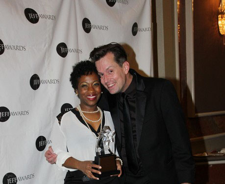 Jeff Award winner Alexis J. Rogers (Solo Performance, Lady Day at Emerson's Bar and Grill, Porchlight Musical Theatre) with her director Rob Lindley. Photo by Lia Chang
