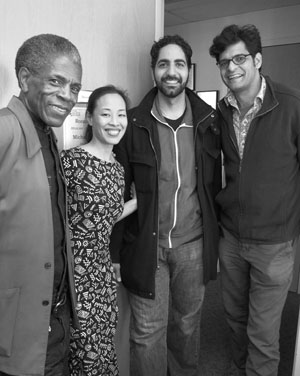 André De Shields, Lia Chang, Ronnie Malley and Neel Murgai backstage at the McCarter's production of The White Snake in Princeton, NJ on November 1, 2013. Photo by Tessa Brinckman