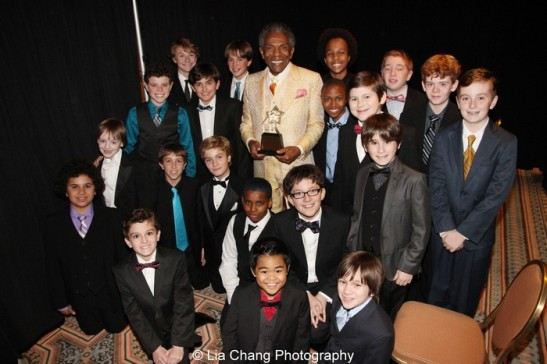 Jeff Award winner André De Shields  and the cast of Drury Lane Productions' Oliver! Photo by Lia Chang