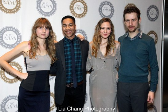 Playwright Annie Baker, Aaron Clifton Moten, Louisa Krause and Alex Hanna. Photo by Lia Chang