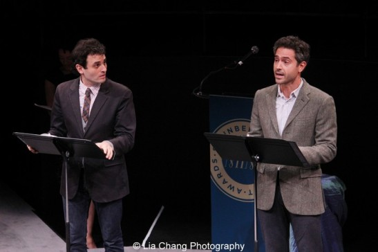 """Arian Moayed and Omar Metwally in a scene from Rajiv Joseph's Guards at The Taj at The 2013 Steinberg Playwright """"Mimi"""" Awards, held in Lincoln Center's Mitzi E. Newhouse Theater in New York on November 18, 2013. Photo by Lia Chang"""