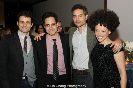 Arian Moayed, Rajiv Joseph, Omar Metwally and Marcy Harriell. Photo by Lia Chang