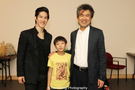 Cole Horibe, Bradley Fong and David Henry Hwang backstage at the Mitzi E. Newhouse Theater at Lincoln Center in New York for the 6th Annual Steinberg