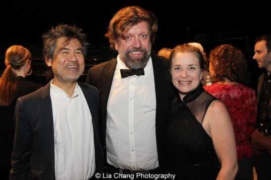 David Henry Hwang, Oskar Eustis and Kathryn Layng. Photo by Lia Chang