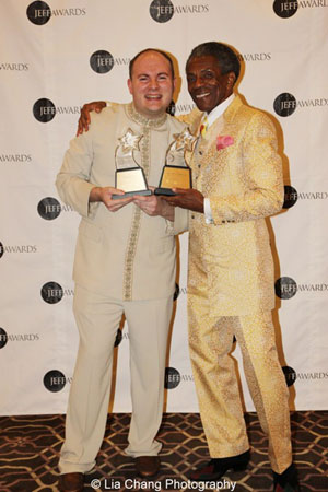 The Jungle Book's Jeff Award winners Doug Peck (musical direction) and André De Shields at the Drury Lane Oakbrook, Oakbrook Terrace, Il, on November 4, 2013. Photo by Lia Chang