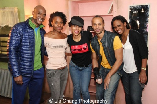John Earl Jelks, DeWanda Wise, playwright Dominique Morisseau, Harvey Gardner Moore and director Kamilah Forbes after the first preview of Sunset Baby at Bank Street Theater in New York on November 6, 2013. Photo by Lia Chang