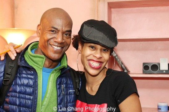 Sunset Baby castmember John Earl Jelks and playwright Dominique Morisseau. Photo by Lia Chang