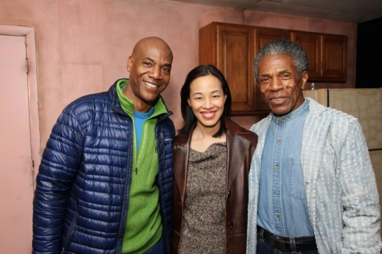 Sunset Baby castmember John Earl Jelks, Lia Chang and André De Shields after the first preview of Sunset Baby at Bank Street Theater in New York on November 6, 2013. Photo by DeWanda Wise