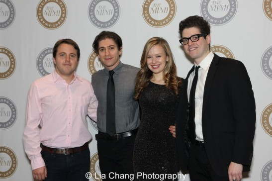 BAD JEWS playwright Joshua Harmon and his cast Michael Zegen, Mollie Ranson and Phillip Ettinger. Photo by Lia Chang