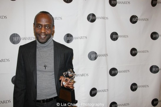 K. Todd Freeman, director of Steppenwolf Theatre Company's production of Good People accepted the Jeff Award for Production-Play-Large. Photo by Lia Chang