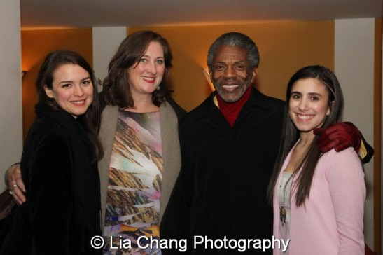 André De Shields is flanked by Appropriate castmembers Leah Carpel, Kristen Fitzgerald and Jennifer Baker. Photo by Lia Chang
