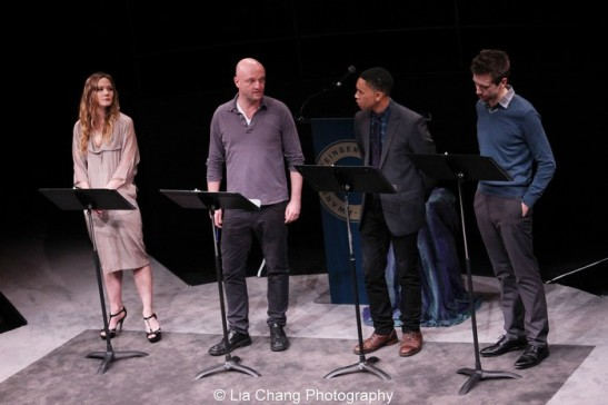 Louisa Krause, Matthew Maher, Aaron Clifton Moten and Alex Hanna in a scene from Annie Baker's THE FLICK. Photo by Lia Chang