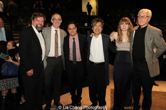 Presenters Oskar Eustis, John Clinton Eisner, 2013 Steinberg Playwright Award honoree Rajiv Joseph, 2012 Steinberg Distinguished Playwright honoree David Henry Hwang, 2013 Steinberg Playwright Award honoree Annie Baker and presenter John Guare. Photo by Lia Chang