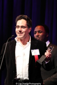 Playwright Rajiv Joseph accepts his Jeff Award for New Work - Play for The Lake Effect, produced by Silk Road Rising. Photo by Lia Chang