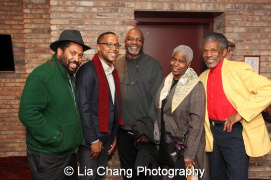 Playwrights Thomas Bradshaw and Branden Jacobs-Jenkins, artist Kerry James Marshall, his wife Cheryl Lynn Bruce and André De Shields. Photo by Lia Chang
