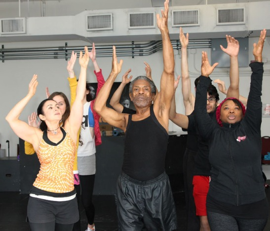 Miranda Zola, André De Shields, Donica Lynn, (2nd row) Baize Buzan, Kamal Hans, Owais Ahmed, (3rd row) Kathryn Cesarz and Brian Grey in Chicago' Victory Gardens Theater rehearsal room on November 14, 2013. Photo by Lia Chang