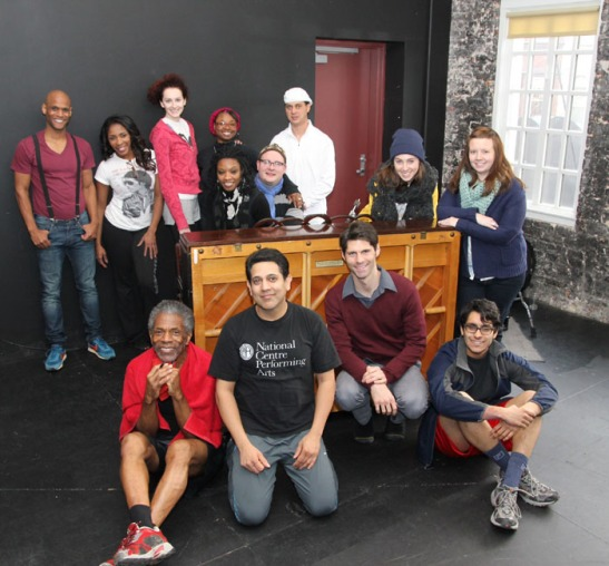(front row) André De Shields, Kamal Hans, Brian Grey and Owais Ahmed. (back row) Nebi Berhane, Patrese McClain, Kathryn Cesarz, Monique Haley, Donica Lynn, Doug Peck, Jean-Christophe Leroy, Baize Buzan, Molli Duckworth in Chicago' Victory Gardens Theater rehearsal room on November 14, 2013. Photo by Lia Chang
