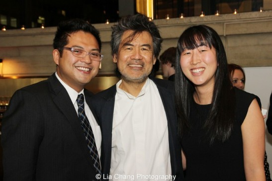 "Victor Maog, David Henry Hwang and Jane Jung at The 2013 Steinberg Playwright ""Mimi"" Awards, held in Lincoln Center's Mitzi E. Newhouse Theater in New York on November 18, 2013. Photo by Lia Chang"
