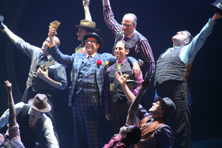 The cast of Guys and Dolls - Garth Kravits (center) plays Benny Southstreet.