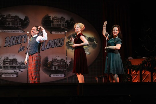 Garth Kravits, Lauren Molina and Victoria Cook in Meet Me in St. Louis: A Live Radio Play at Bucks County Playhouse in New Hope, Pa. (MANDEE KUENZLE/Bucks County Playhouse)