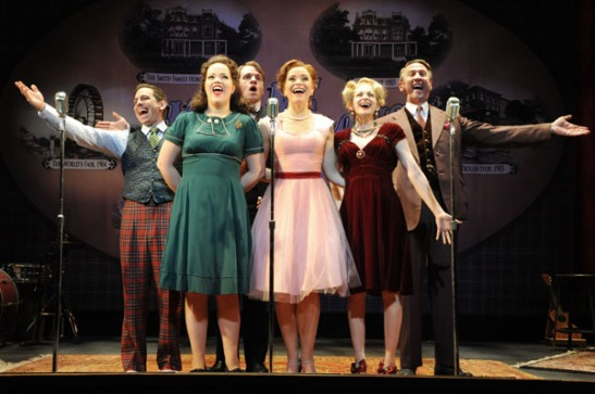 Garth Kravits, Victoria Cook, Geoff Packard, Chelsea Packard, Lauren Molina and Jay Russell in Meet Me in St. Louis: A Live Radio Play at Bucks County Playhouse in New Hope, Pa.(MANDEE KUENZLE/Bucks County Playhouse)
