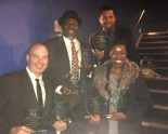 "Michael Carnahan, Chuck Cooper, Brandon J. Dirden and Roslyn Ruff with the eight AUDELCO Awards for Signature Theatre Company's revival of August Wilson's The Piano Lesson, at the 41st Annual Vivian Robinson/AUDELCO ""VIV"" Recognition Awards for Excellence in Black Theatre, held in the Peter Jay Stark Theatre at Symphony Space in New York, on Monday, November 25, 2013. Photo courtesy of Chuck Cooper"