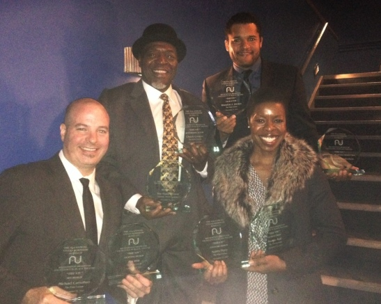 "Michael Carnahan, Chuck Cooper, Brandon J. Dirden and Roslyn Ruff with the eight AUDELCO Awards for Signature Theatre Company's revival of August Wilson's The Piano Lesson, at the 41st Annual Vivian Robinson/AUDELCO ""VIV"" Recognition Awards for Excellence in Black Theatre, held in the Peter Jay Sharp Theatre at Symphony Space in New York, on Monday, November 25, 2013. Photo courtesy of Chuck Cooper"