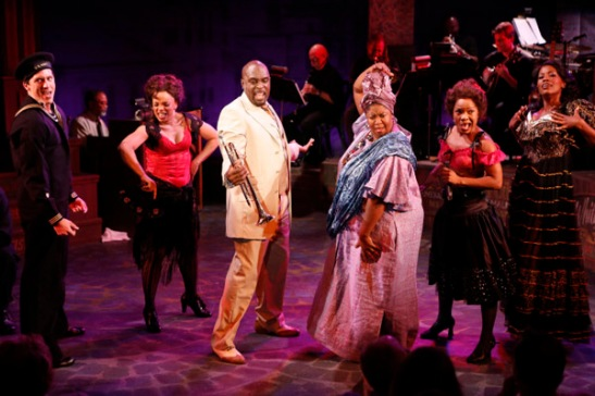 Clifton Samuels, Debra Walton, Michael Leonard James, NaTasha Yvette Williams, Karen Burthwright, Zakiya Young in York Theatre Company's production of Storyville. Photo by Carol Rosegg