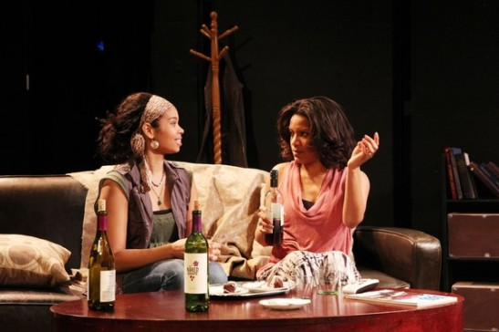 Carmen LoBue and Tracey Conyer Lee in Camille Darby's Lords Resistance at the Kraine Theater through January 31, 2014. Photo by Lia Chang