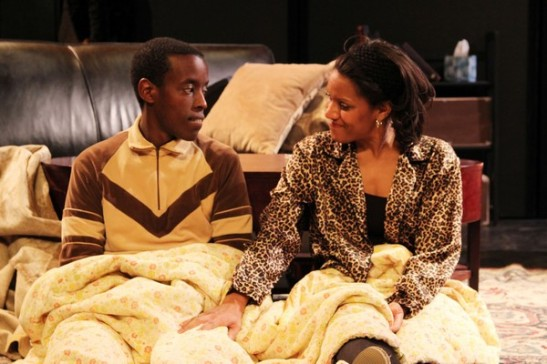 Matthew Murumba and Tracey Conyer Lee in Camille Darby's Lords Resistance at the Kraine Theater through January 31, 2014. Photo by Lia Chang