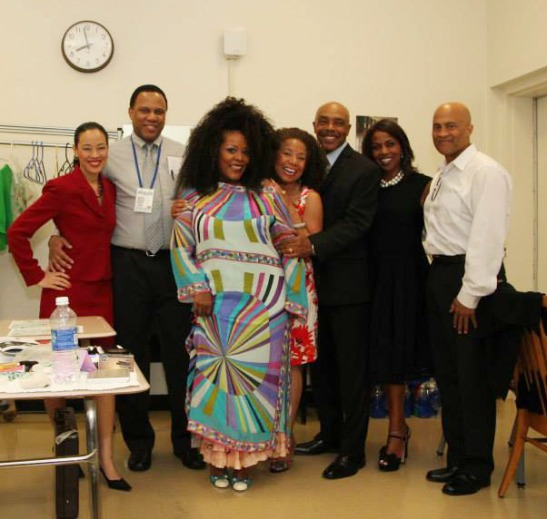 July 30, 2013, Backstage at the 2013 National Black Theatre Festival in Winston-Salem, NC, with the cast of  Lorey Hayes' Power Play- Lia Chang, Marcus Naylor, Phynjuar, Lorey Hayes, Roscoe Orman, Pauletta Pearson Washington and director Andre Robinson.