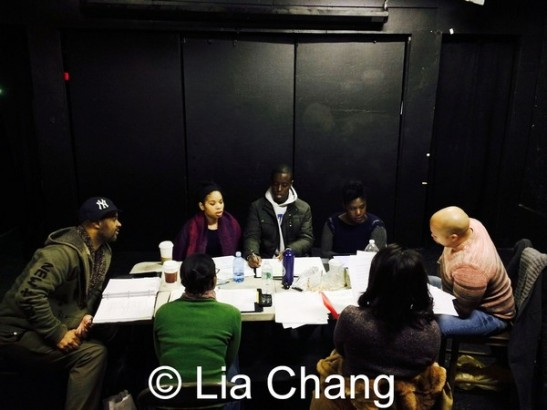 The cast and creative team of Camille Darby's Lords Resistance at The Kraine Theater in New York on January 4, 2014. Photo by Lia Chang