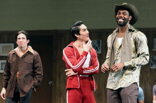 Jon Rua, Cole Horibe and Clifton Duncan in David Henry Hwang's Kung Fu. Photo by Lia Chang
