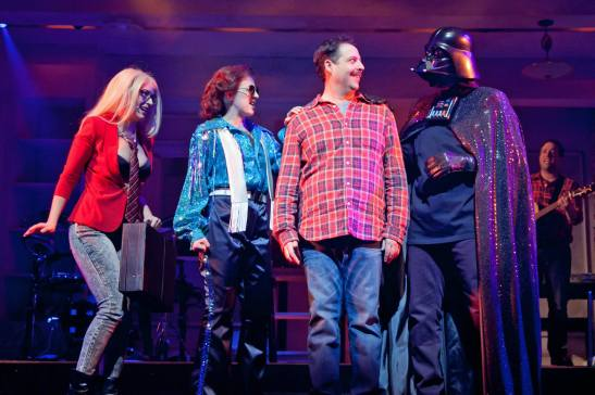 The Other Josh Cohen at Paper Mill Playhouse: From left to right: Hannah Elless, Kate Wetherhead, Steve Rosen, Ken Triwush, and David Rossmer. Photo by Jerry Dalia