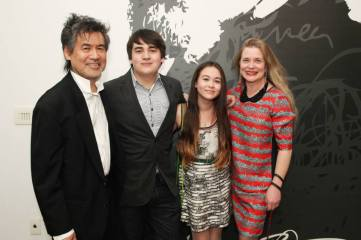 The Hwangs: David Henry Hwang with his son Noah, his daughter Eva and his wife Kathryn Layng-Hwang. Photo by Lia Chang