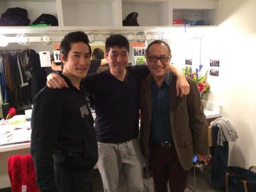 In the dressing room with cast members Cole Horibe and Peter Kim, and assistant director Alan Muraoka. Photo by Lia Chang