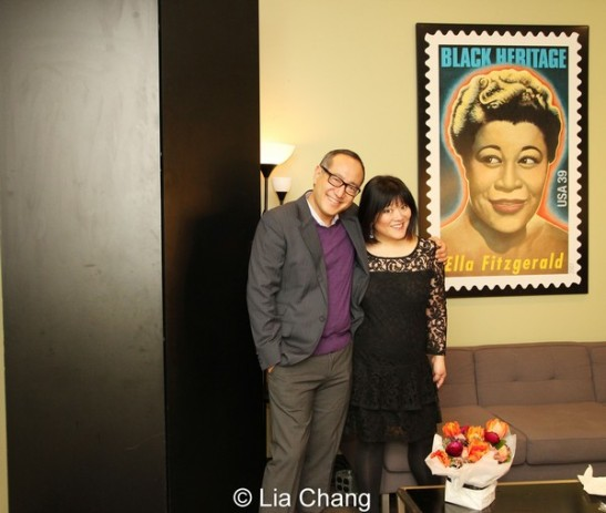 Alan Muraoka and Ann Harada backstage in the star dressing room of The Allen Room in New York on February 22, 2014. Photo by Lia Chang