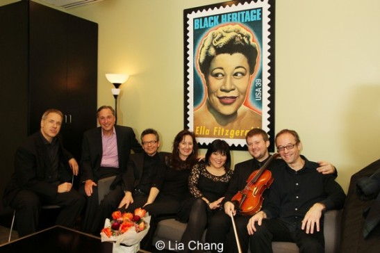 Scott Neumann (drums), Kevin Pariseau, Brian Koonin (guitar), MaryAnn McSweeney (bass), Ann Harada, JJ Johnson (viola), Gary Adler (musical director), backstage in the star dressing room of The Allen Room in New York on February 22, 2014. Photo by Lia Chang